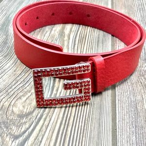 GUESS red 100% leather belt